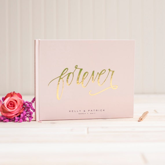 Wedding Guest Book landscape guestbook horizontal wedding book Blush Pink with Gold Foil hardcover guestbook wedding planner bride journal
