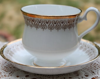 "ROYAL ALBERT Bone China Teacup and Saucer Set ""Burlington""  2 Sets Available"
