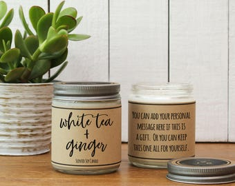 White Tea + Ginger Scented Candle - 8 oz | Candle Gift | Unique Scented Candle | Candle Handmade | Soy Candle | Personalized Candle