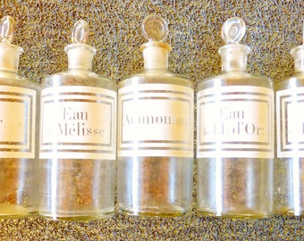 Nice Opportunity to Purchase 5 Matching French Chemist /Pharmacy /Apothecary Glass Jars