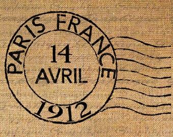 Digital Collage Sheet French Paris Postmark Post Mark France Burlap Digital Download Sheet Fabric Transfer Pillows Totes Tea Towels 2267