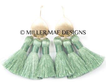 Mint Green Boho Statement Tassel Earrings | Silky Tassel Earrings | Bohemian Tassel Earrings | Green Fringe Earrings |Thread Tassel Earrings