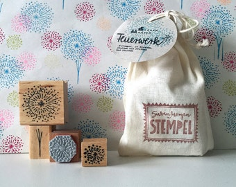 Rubberstamp Set - Fireworks - 4 Stamps in handprinted linen bag