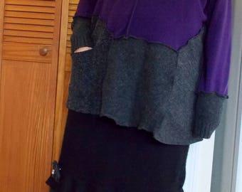 1x 2x XXL Asymmetric Sweater Tunic Purple Charcoal Gray