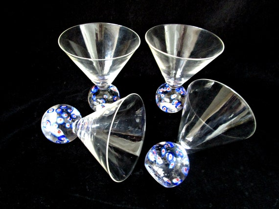 Set of 4 Martini Glasses, Millefiori Base, Vintage Barware, Millefiori Barware, Excellent Condition
