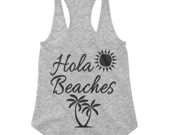 Hola Beaches Grey RacerBack Scallop Bottom Tank for Women