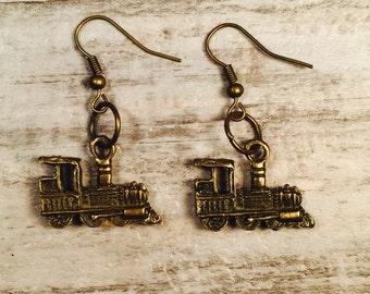Train Earrings, Steampunk Earrings, Steam Train Locomotive, Steampunk Jewelry, Mini Trains, Choo Choo Train, Steam Engine, Stocking Stuffer