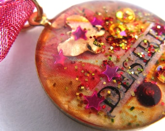 Red Desire  - luminous resin filled brass charm with ribbon cord chain - OOAK