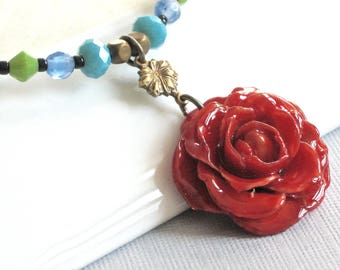 Small Rose Necklace - Red Rose Necklace, Flower Necklace, Real Flower Jewelry, Nature Jewelry, Colorful, Real Rose Necklace