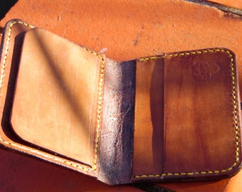 Small wallet with cash pocket. Handmade leather slim wallet. mens. womens.