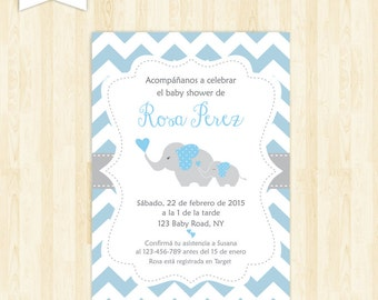 Baby shower invitation in spanish boy baby shower spanish invitacion baby shower espanol boy baby shower in spanish invite elephant imprimible en espaol invitation baby filmwisefo Images