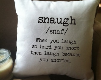 Snaugh humorous definition throw pillow cover, decorative throw pillow cover