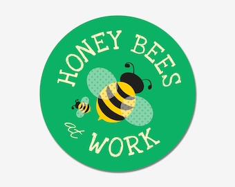 """Honey Bees At Work 9"""" round aluminum outdoor sign"""