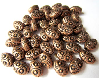 30 Antique Copper beads oval embossed tibetan style 8mm 6mm B5485 (W4)