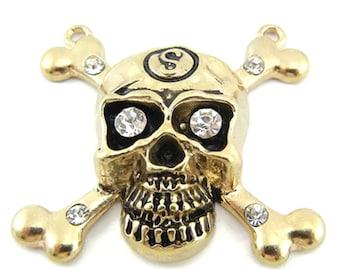 Gold skull pendant etsy double link skull aloadofball Gallery