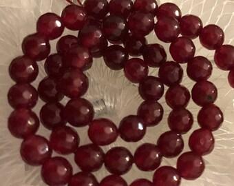HALF PRICE SALE New Ruby/Garnet Color Jade  Beads 6 mm 31 Beads