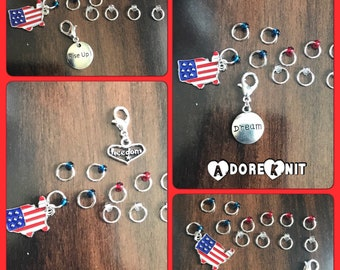 American Dream Ring Stitch Markers, Rise Up, Hamilton, knitting supplies, stitch markers, Memorial Day, Clip on Charm, USA, freedom, gift