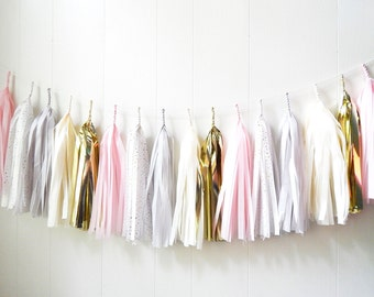Pink Gray and Gold Tassel Garland - Wedding Decor - Girls Room decor - Nursery Decor - Photo Prop - Garland