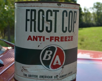 Vintage Anti-Freeze FROST COP Empty One Gallon Can Automotive Advertising Collectible From BA Oil