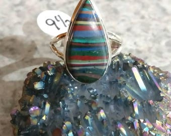 Rainbow Calsilica Party Ring  Size 9 1/2