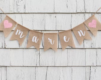 Custom Baby Name Banner, Script Banner, Personalized Baby Bunting, Baby Shower Decorations, Rustic Shower Decorations, Custom Script Banner