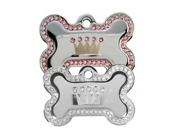 Fancy Bling Dog Pet ID Tags with Swarovski Crystal Rhinestones, Personalized, Engraved, Dog Tags with Name