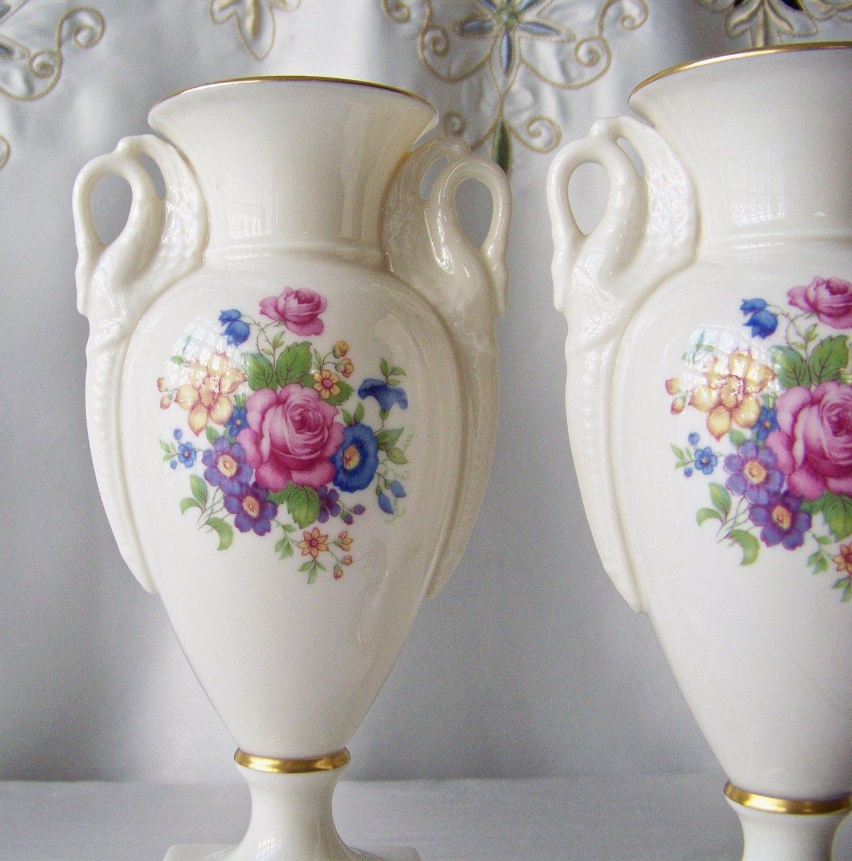 Vintage lenox porcelain trophy vases double swan handles cream description vintage lenox porcelain trophy vases floridaeventfo Image collections