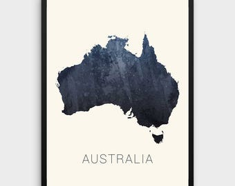 watercolor australia map print australia print watercolor map art map artwork office decorations country map christmas gift
