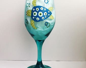 Blue and Green Turtle Polka Dot Hand Painted Wine Glass