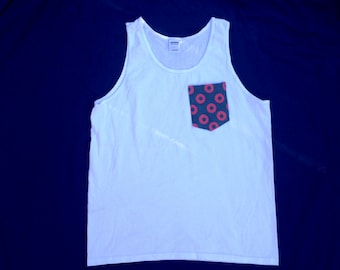Men's Fishman Donut Pocket Tank Top in White Phish Shirt / You Enjoy My Shirt