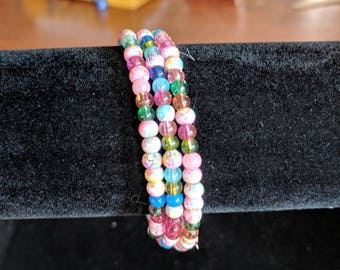 Memory wire bracelet- small bright colored glass beads