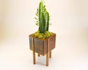 Bamboo Planter With Legs, Planter with Stand, Succulent Planter, Cactus Planter, Indoor Planter, Pot With Drainage, Wood Home Decor