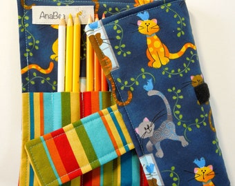 Pencil Holder - Cats and Stripes, Pencil Roll, Organizer, Pencil roll-up case