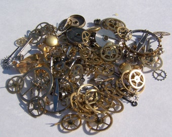 Steampunk Watch Parts, Steampunk watch gears - 150 pieces of vintage watch pieces, gears, cogs, watch hands, crowns, etc.