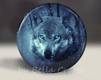Wolf - Magnet or Pin, or Pocket Mirror, 2.25 Inch Size Pinback Buttons, Fundraiser, Accessory, Home Decor, Party Favors, Bookbag Flair
