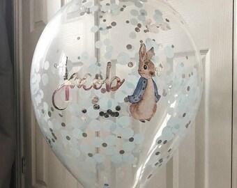 Peter Rabbit Party Balloon, Confetti Balloon, Balloon with Garland, Cake Smash