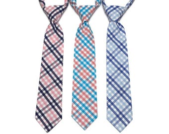 Tattersall Boys Necktie~Cotton Necktie~Wedding Tie~Boys Pretied Necktie~Plaid Necktie~Navy and Pink~Coral and Turquoise~Blue and Light Blue