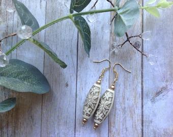 Hand Painted Bead Drop Earrings