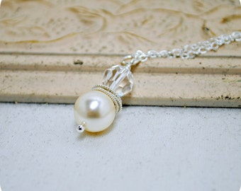 Bridal Pearl Necklace, Ivory Pearl Pendant Necklace, Crystal Wedding Necklace, Bridal Jewelry, Pearl and Crystal Necklace, Sterling Silver