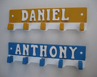 A Personalized Wooden Boys Name Coat Hanger Cutout - Many Color Choices