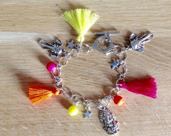 Silver plated bracelet and charms, India
