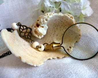 Steampunk Monocle Magnifying Glass  Y- Necklace -  Modern Reading Lens  Long Travel Necklace
