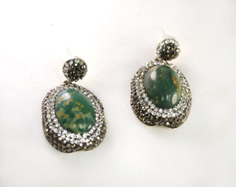 Green Turquoise and Swarovski Crystal Earrings