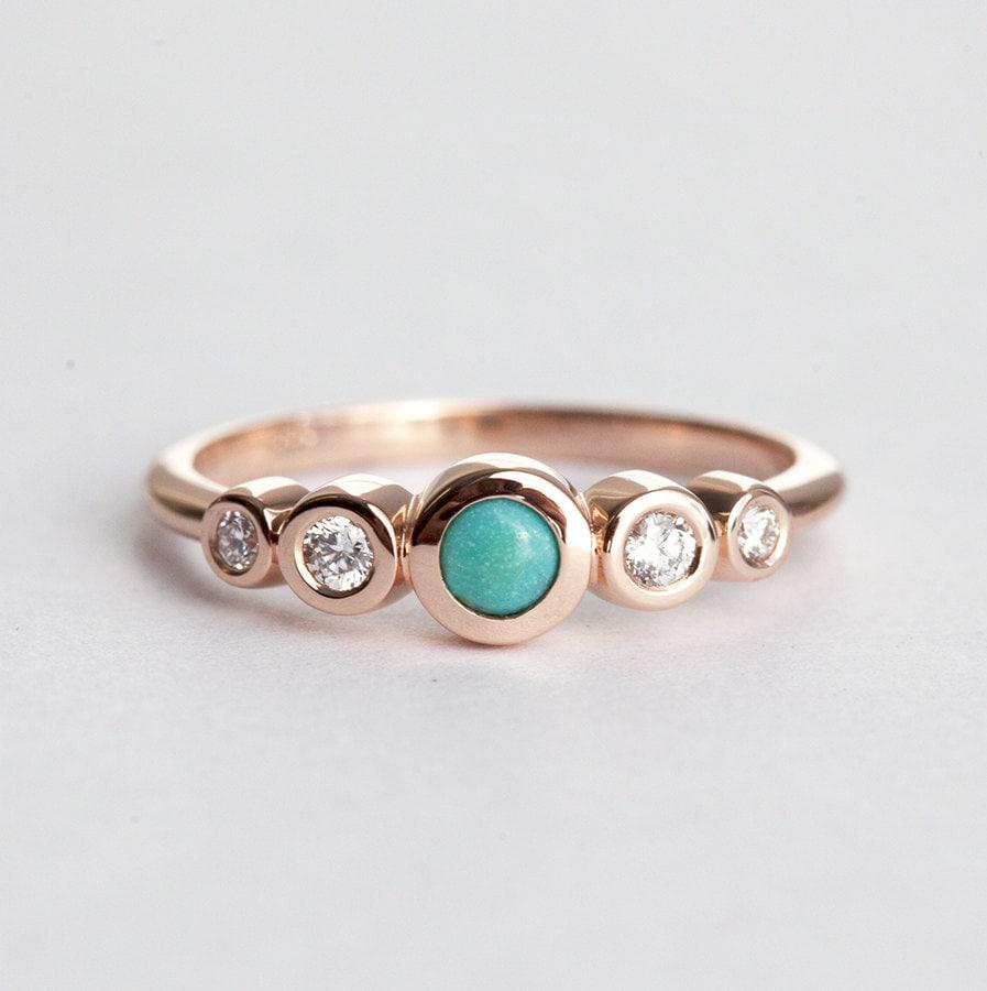 Bezel Diamond Engagement Ring with Turquoise Turquoise