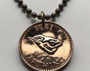 1941 to 1948 United Kingdom Farthing coin pendant wren Jenny bird British English Welsh Scots Irish London Great Britain necklace n000049