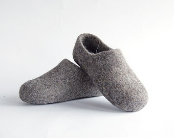 Children felted organic wool clogs just grey - felted kids slippers - eco-friendly children slippers - handmade felt wool clogs