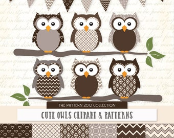 Patterned Chocolate Owls Clipart and Digital Papers - Brown Owl Clipart, Owl Vectors, Baby Owls, Cute Owls