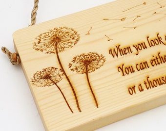 Inspirational Quote Sign / Plaque - Dandelion Sign - Dandelion Wishes - Make a Wish