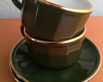2 x Apilco Bistro ware 1980s Green and white cup and saucer. Vintage, retro, Collectable, French, Espresso, Mocha, coffee, cups. Gold trim.
