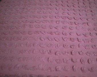 "Morgan Jones PERFECT Girly PINK POPS Vintage Chenille Bedspread Fabric  - 18"" X 30"""